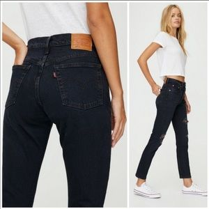 Levis Black Distressed Wedgie Jeans Size 28